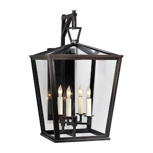Darlana 4-light Hanging Bronze Wall Lantern - 21in