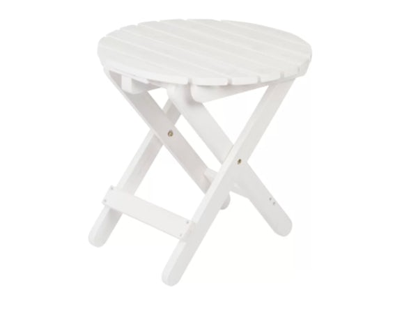 Folding Round Table- Distressed White