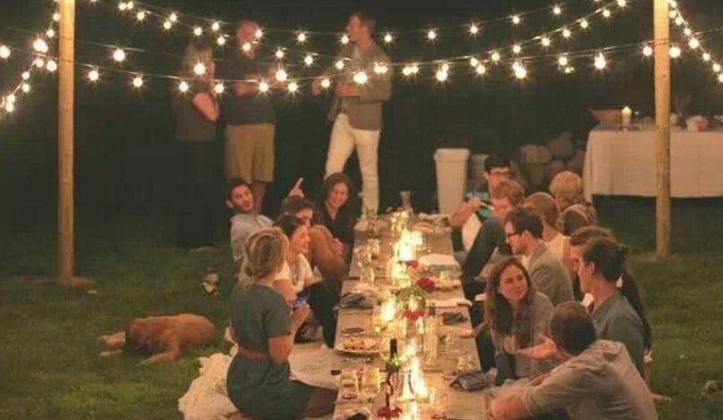 table under twinkle lights