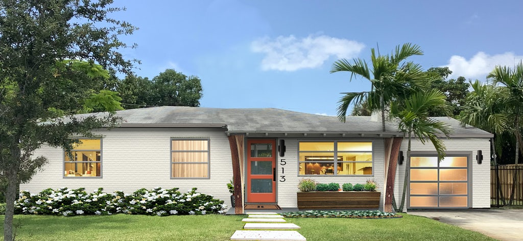Virtual exterior design of a home with a modern color palette and style