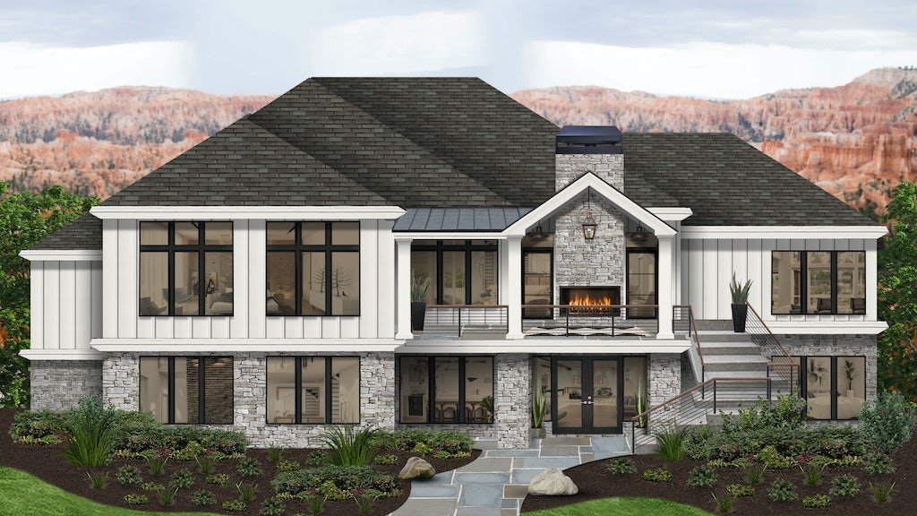 Virtual exterior design of a mountain home painted in Alabaster with natural stone, an outdoor fireplace on a deck, and a large patio
