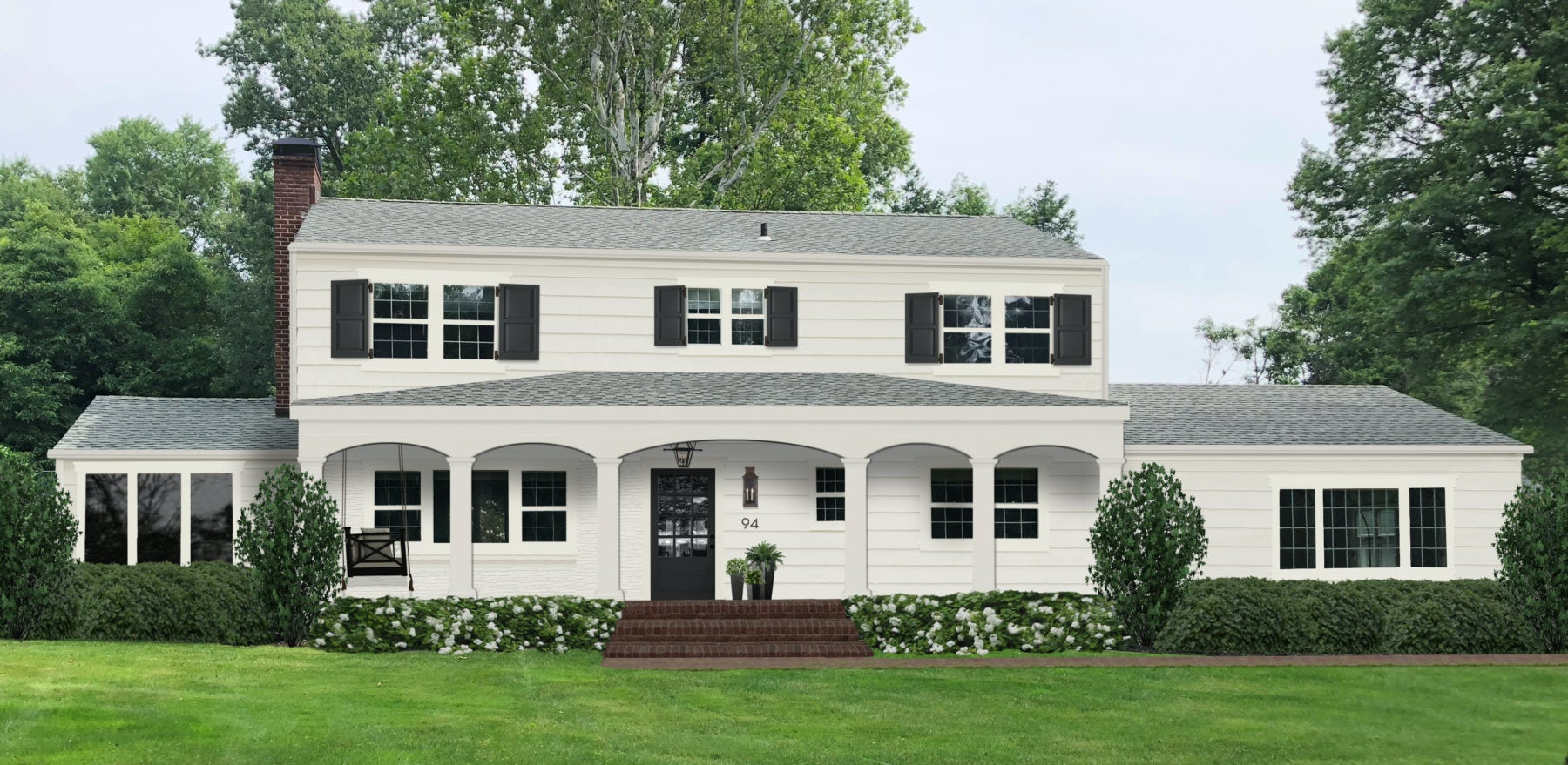 Rendering of a colonial home with porch