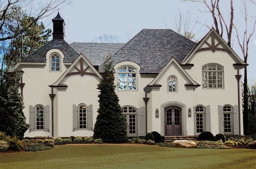 Virtual exterior design of a large home done in Revere Pewter Benjamin Moore, one of the best warm gray paint colors.