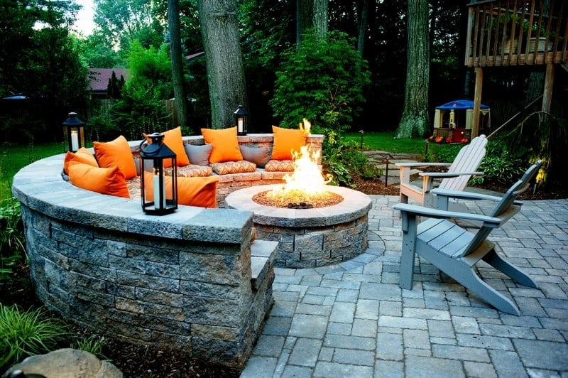 built in seating around fire pit