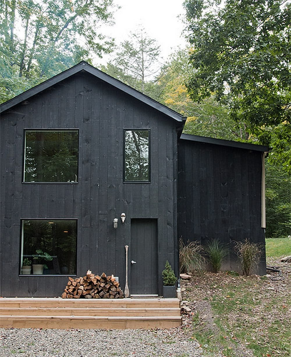 Black stain house exterior