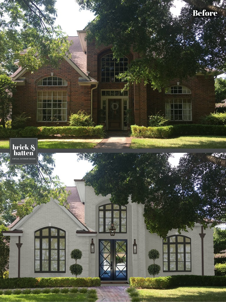 Before and after of a traditional home with the brick painted white