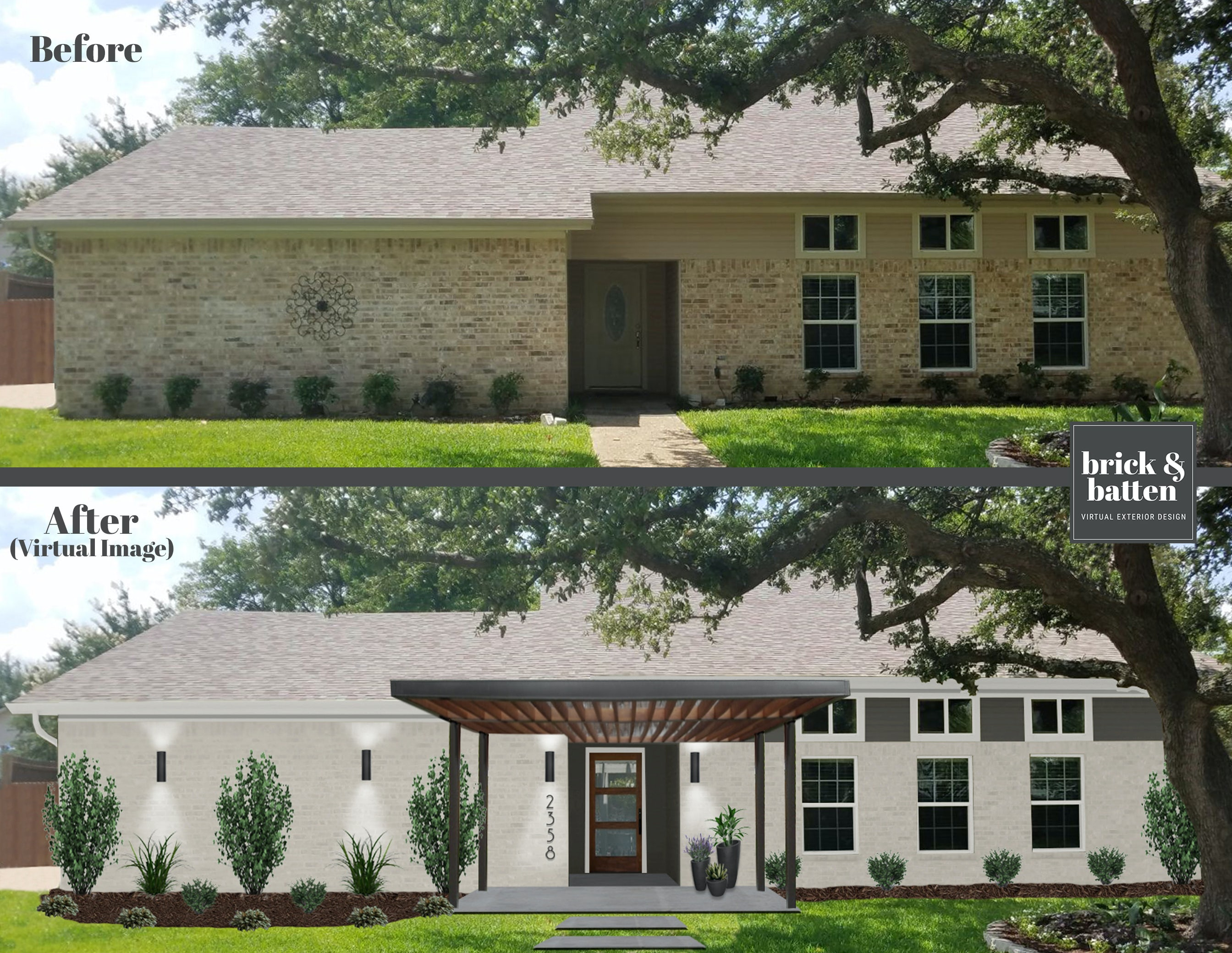 before and after modern pergola