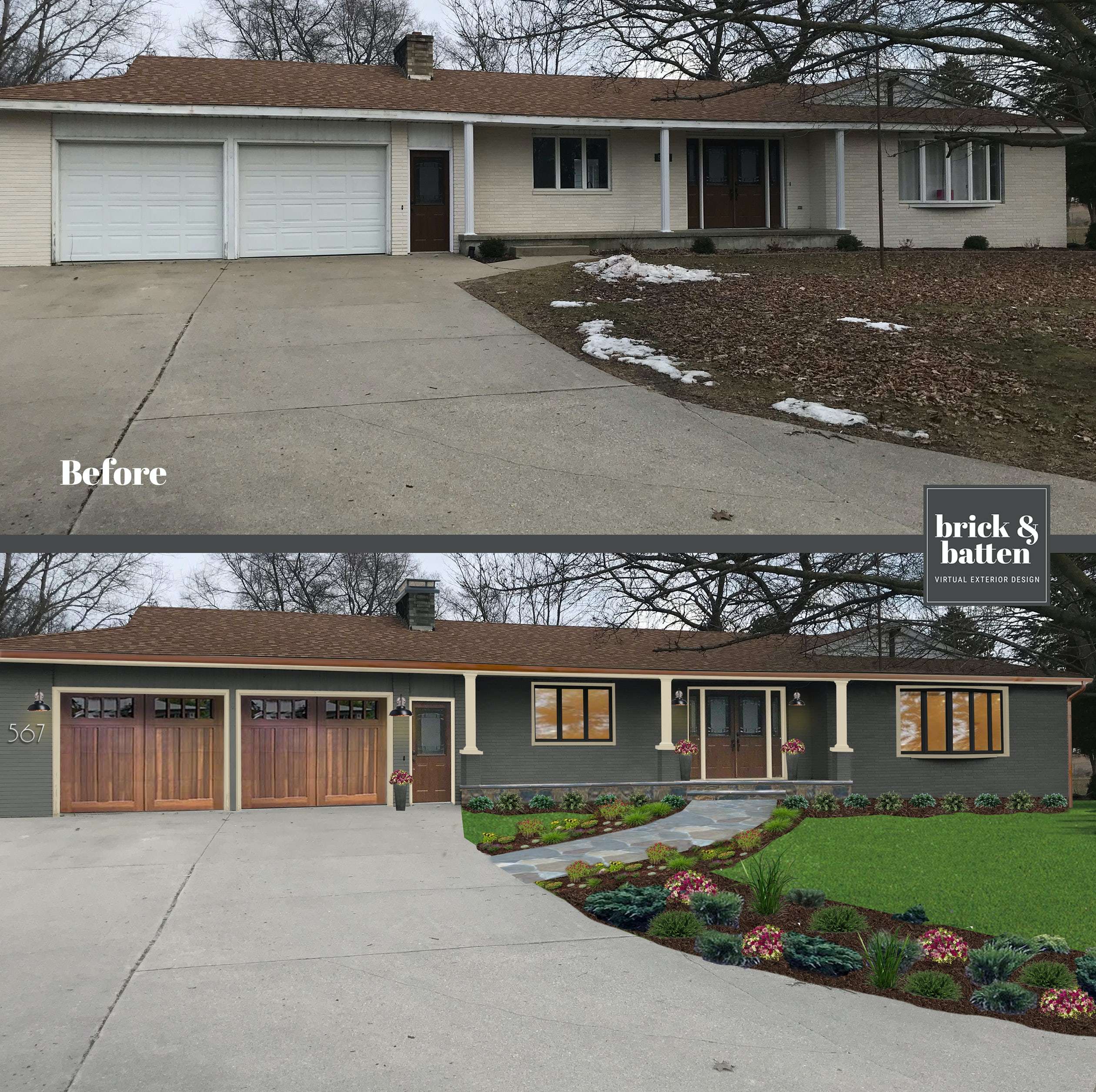RANCH Homes Before & After Makeover | Blog | brick&batten on ranch house exterior remodel, ranch house exterior paint color ideas, ranch style home exterior design, exterior home house design, modern house exterior design, craftsman style homes design,