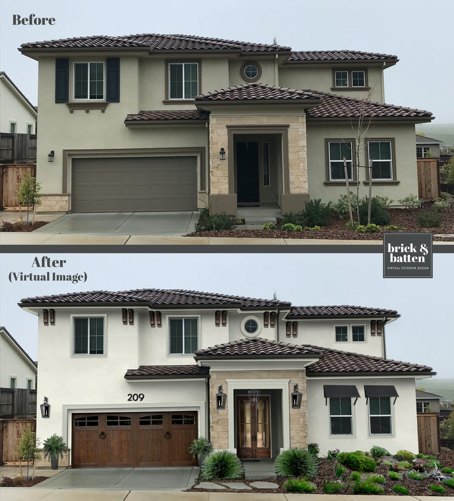 Before and after of a home's exterior design. After = Rustic two-story house painted in Swiss Coffee with a wooded gate garage