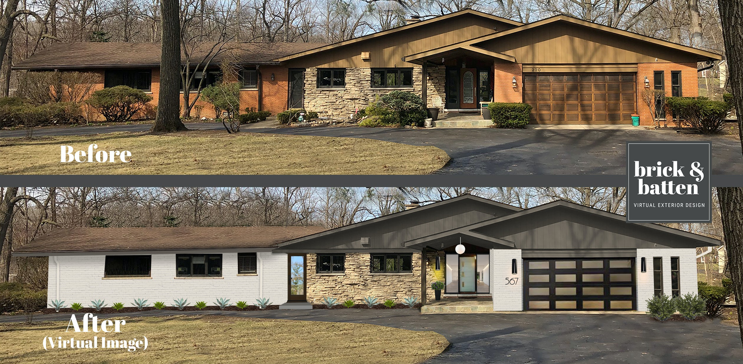 before & after mid-century modern
