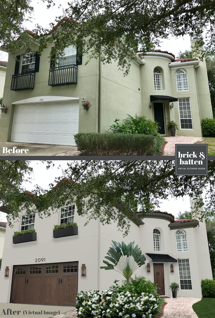 Before and after of home with window boxes