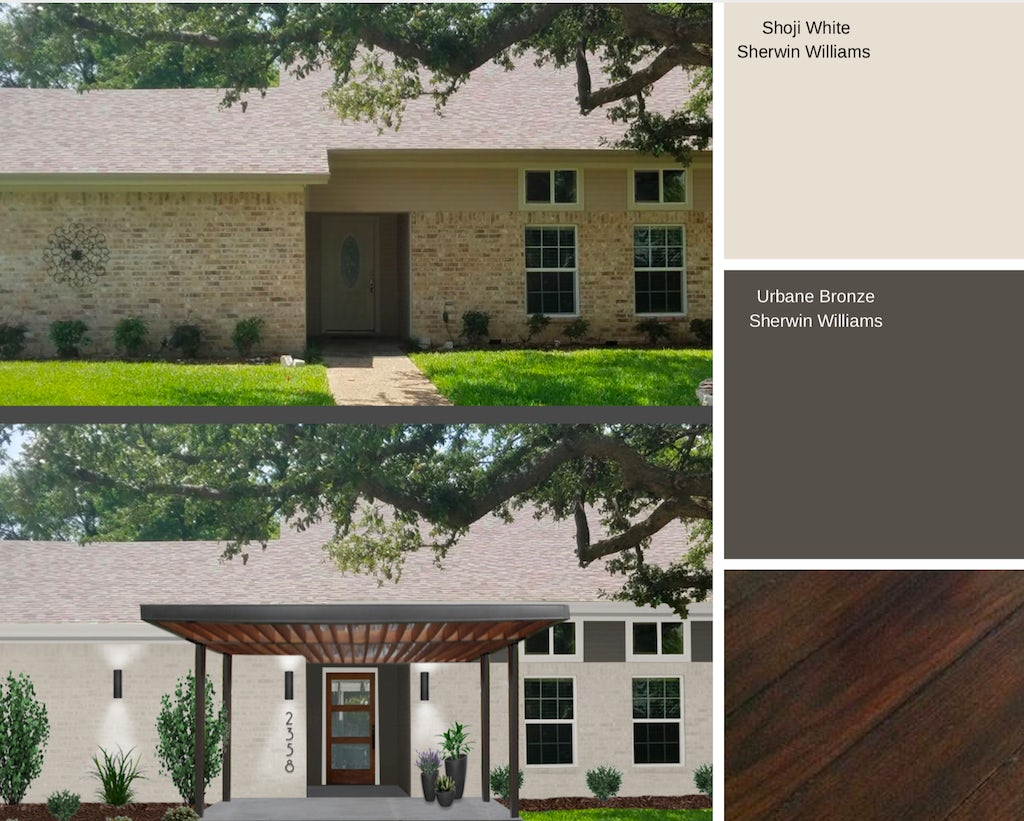 A home's brick painted in Sherwin Williams Shoji White with Urbane Bronze and rich wood accents