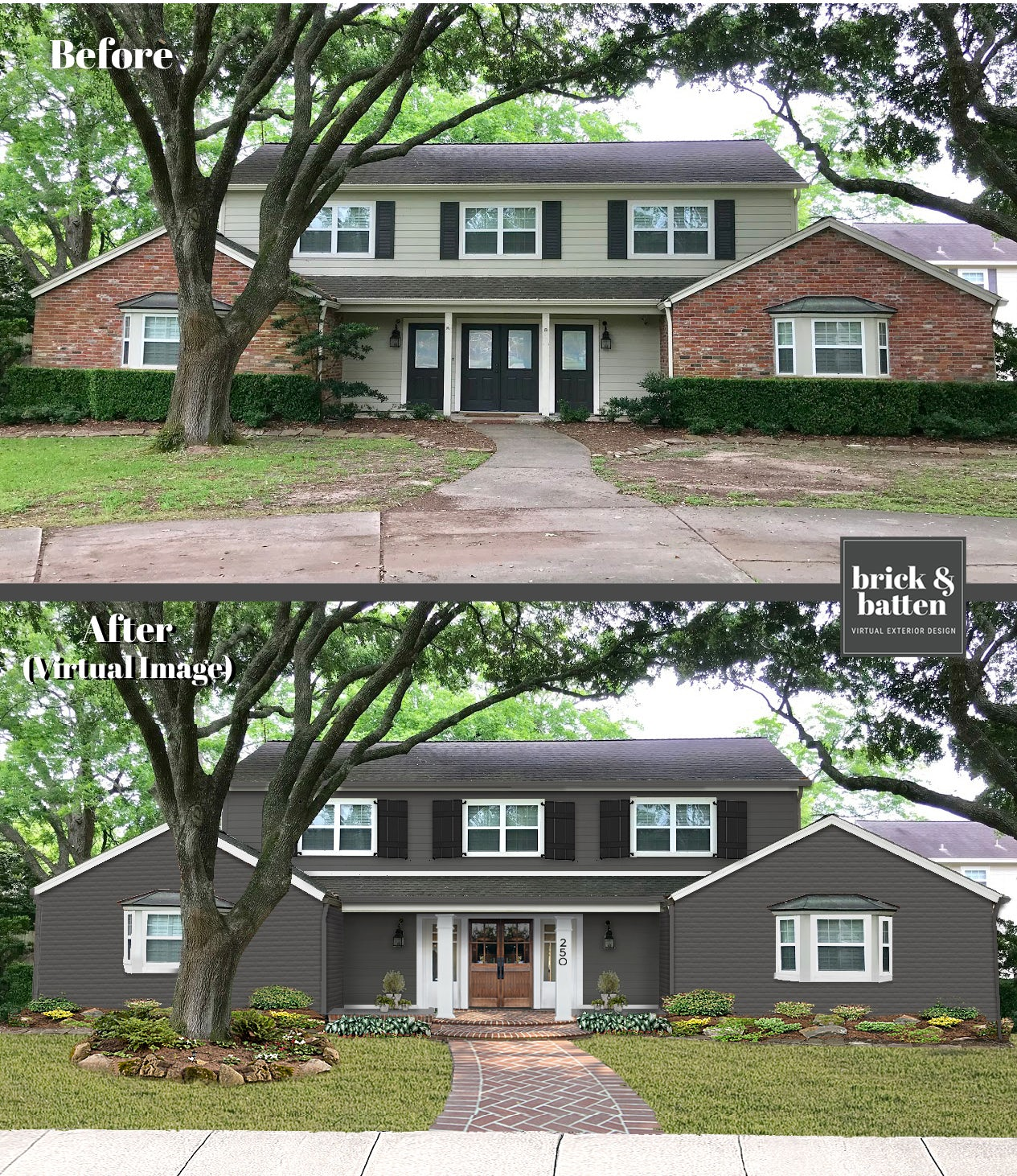before and after painted brick
