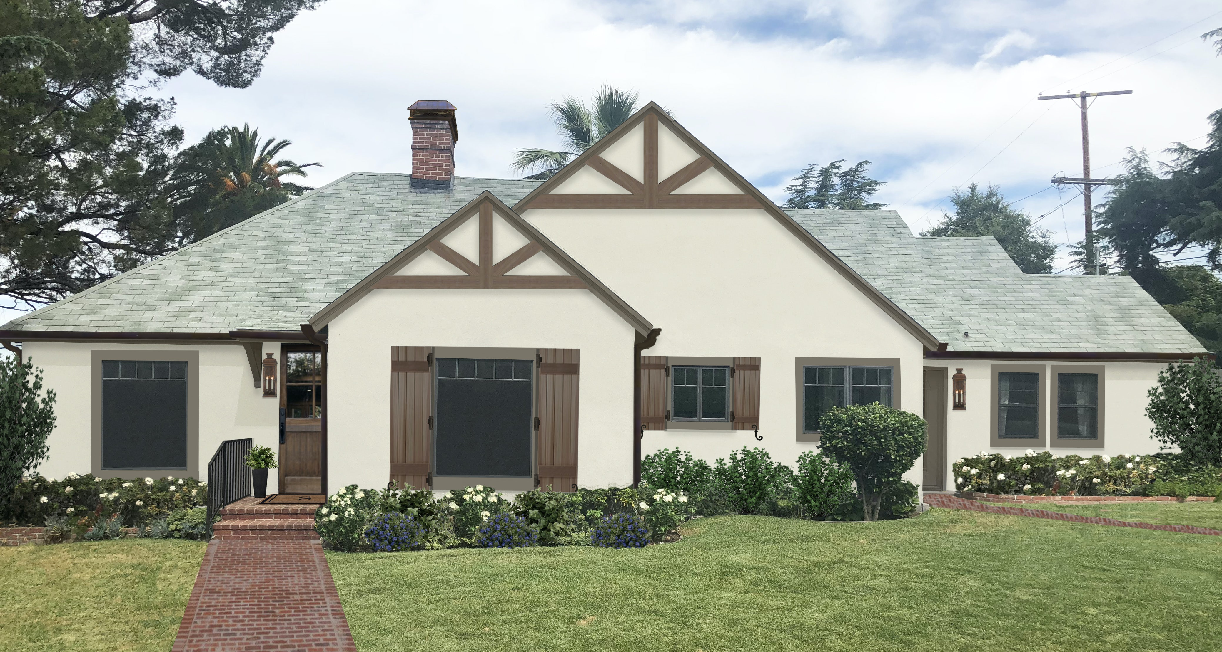 traditional house design with gable accent and shutters