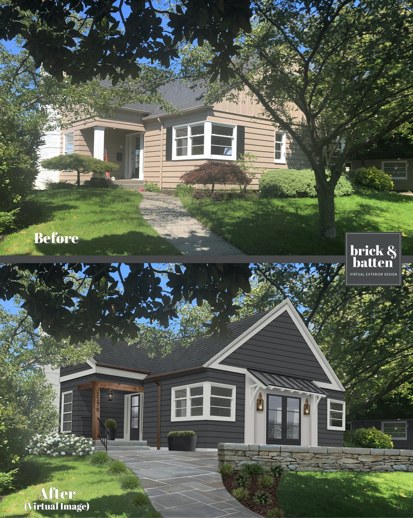 Before and after of a home with Shou Sugi Ban James Hardie siding and exterioir lighting added