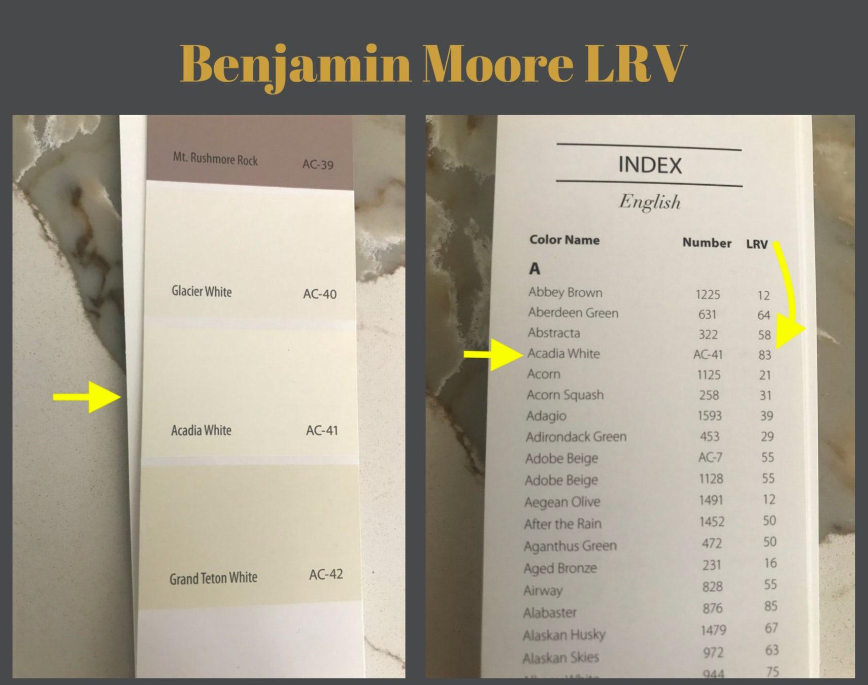 Benjamin Moore light reflective value