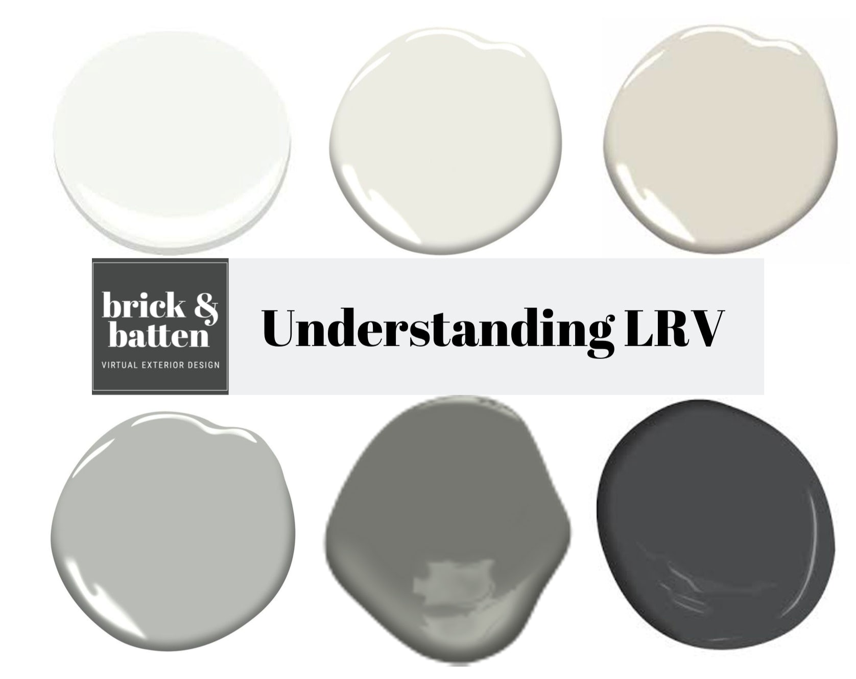Understanding LRV graphic with different shades in a gray color family, from light to dark, pictured