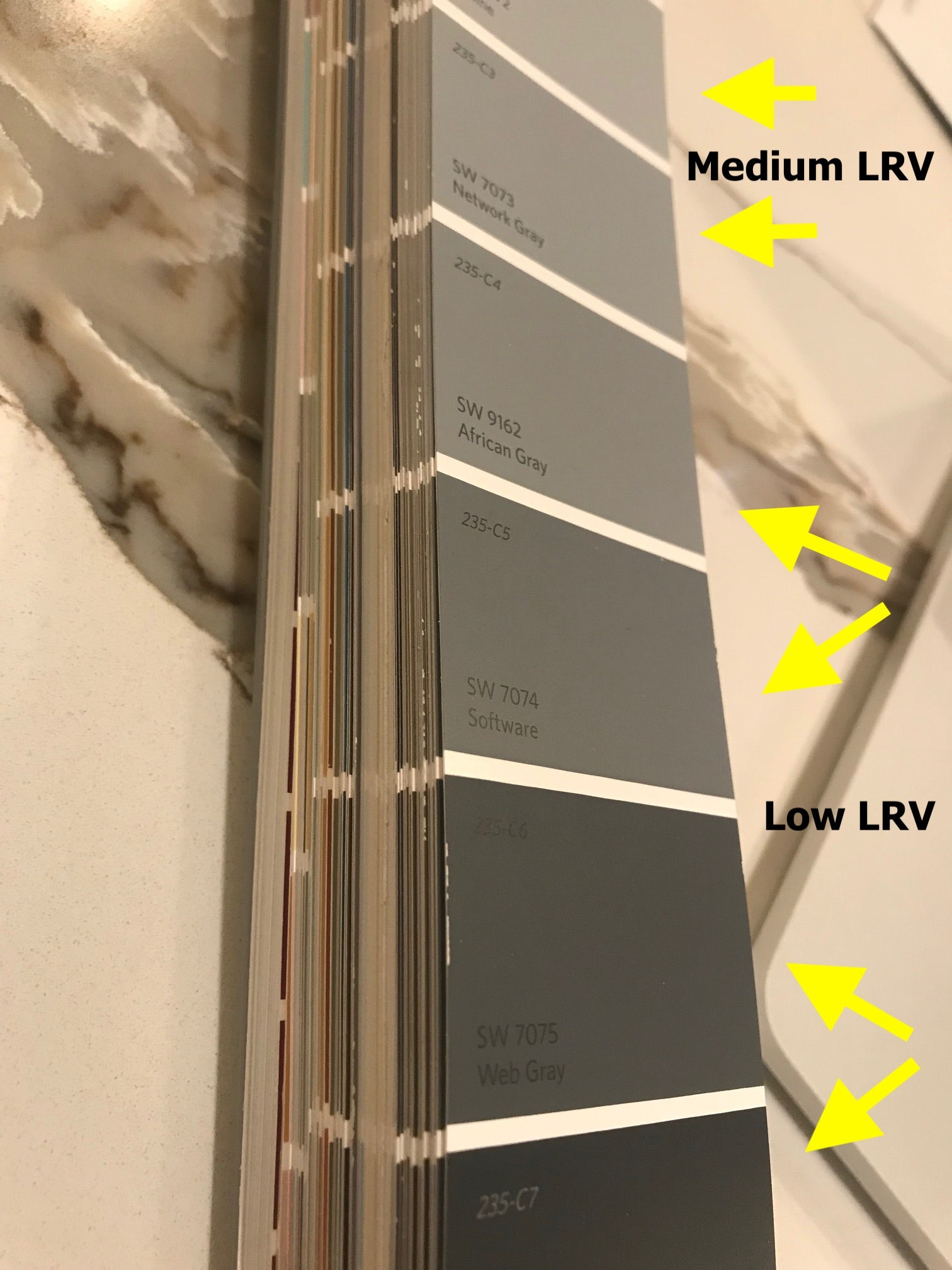 Photo of a paint swatch family with medium LRV colors and low LRV colors called out