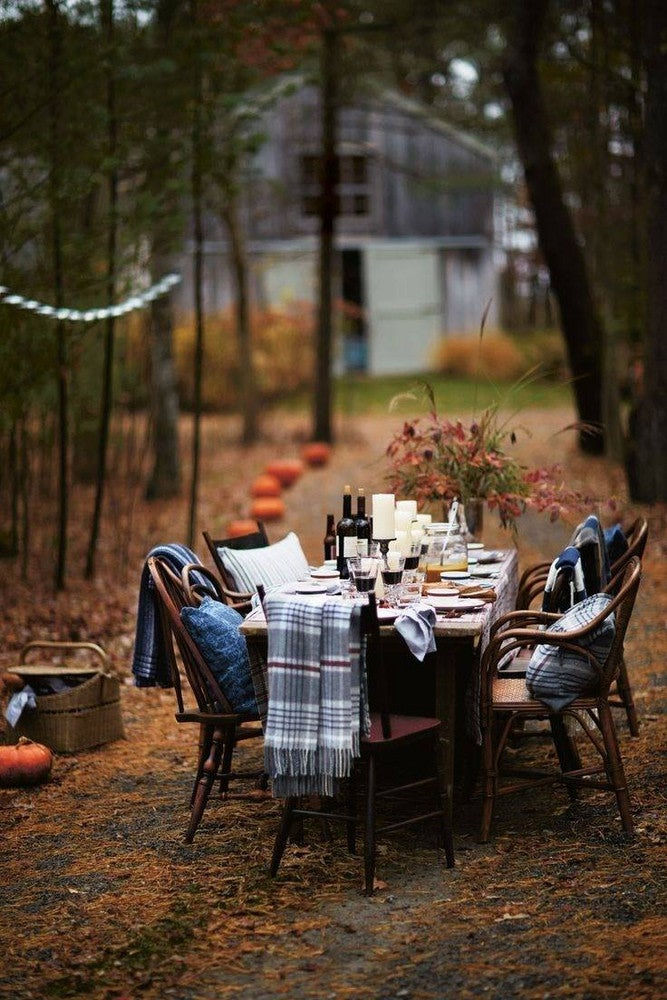 Blankets on chairs for cozy Thanksgiving