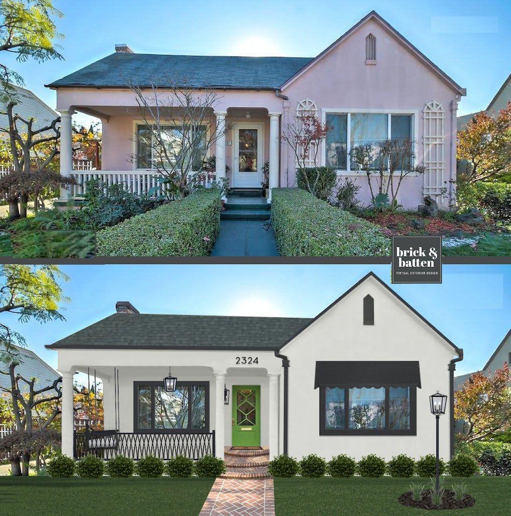 Before and after of a charming cottage-style home with a green front door and Cathedral front porch railings