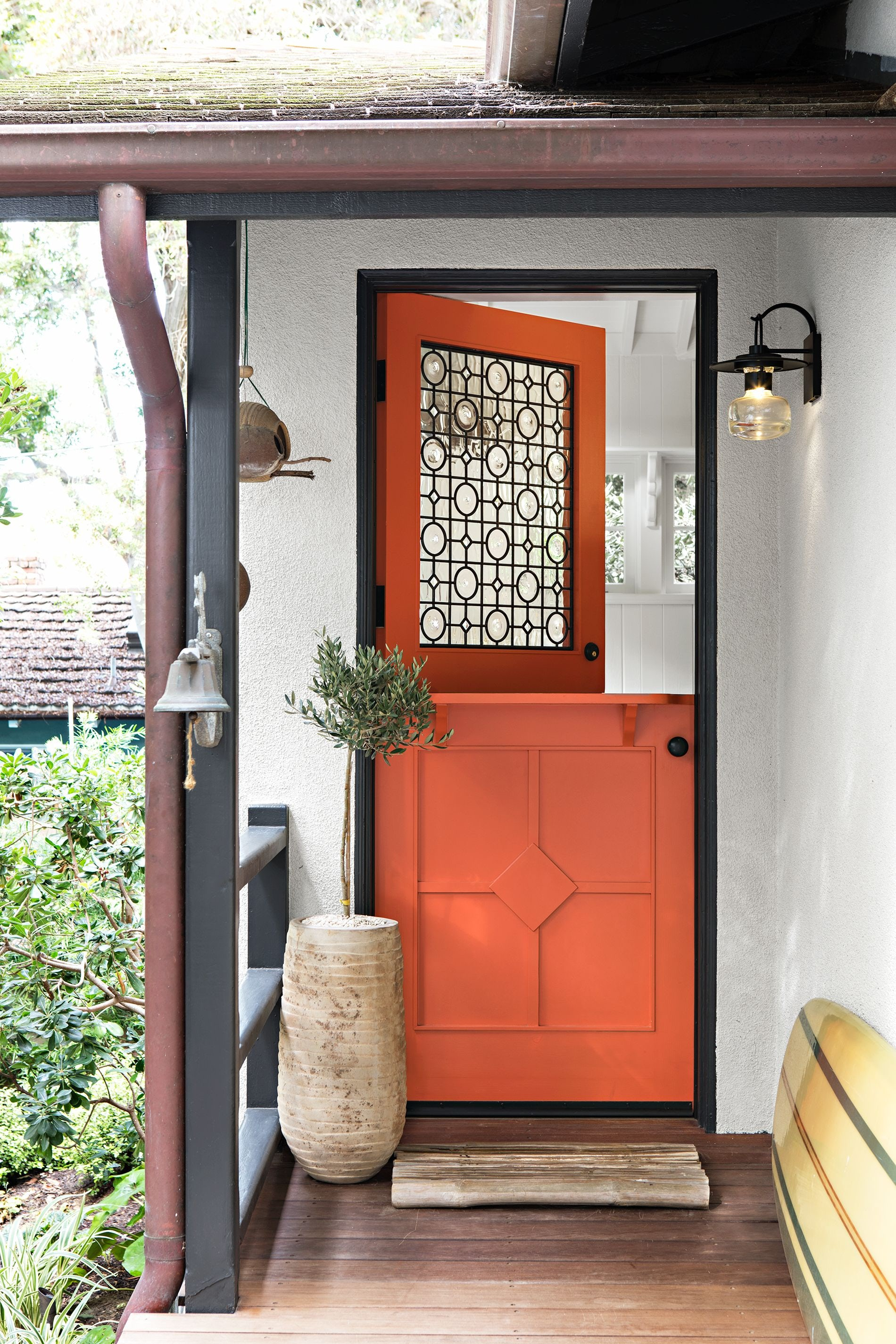 Fall porch orange door