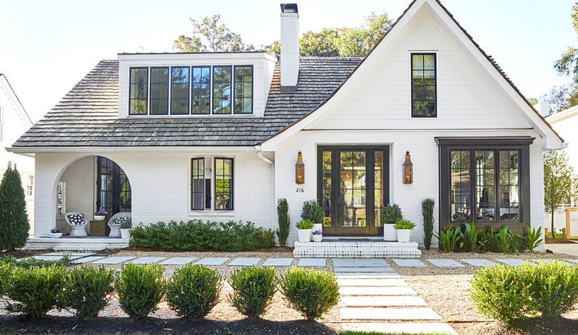 white modern with high roofline