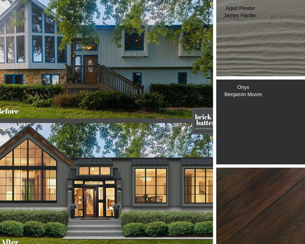 A before and after of a contemporary raised ranch home which has undergone significant renovations. Now, the home features oversized windows and James Hardie Aged Pewter siding color. Under a leafy canopy, the home features a series of steps up to the front door and tiered landscaping in front.