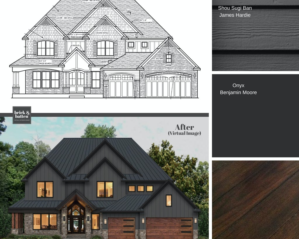 Before and after of a newly-constructed home with the original blueprint serving as the before photo. Combining stone and painted Jamies Hardie (Hardie Board) siding color in Shou Sugi Ban, the home combines wooden garage doors with the gray exterior for a natural look.