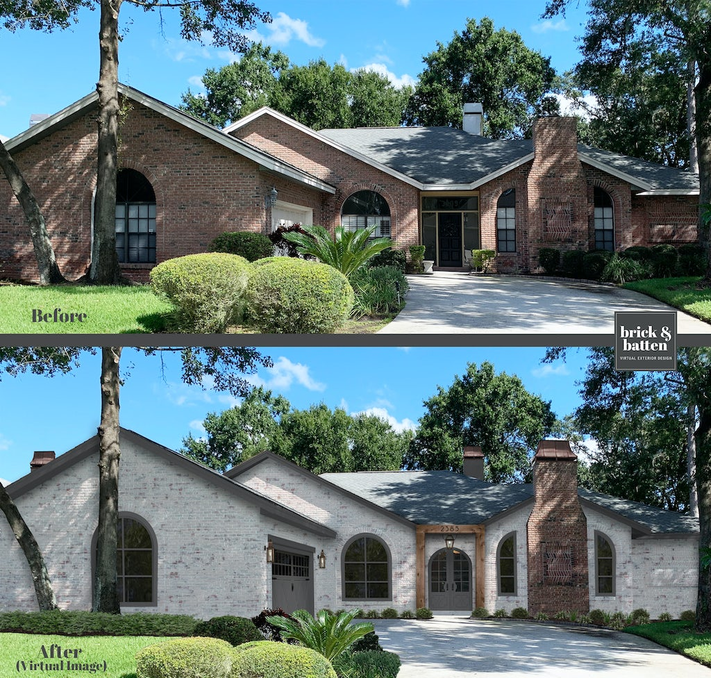 limewash brick ranch with a decorative brick chimney in the front and wood archway over the door
