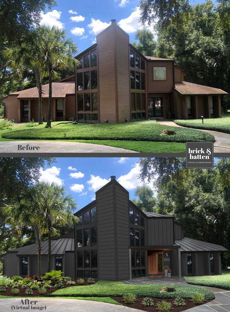 Before and after of a contemporary home painted a dark gray with a new metal roof and front door overhang