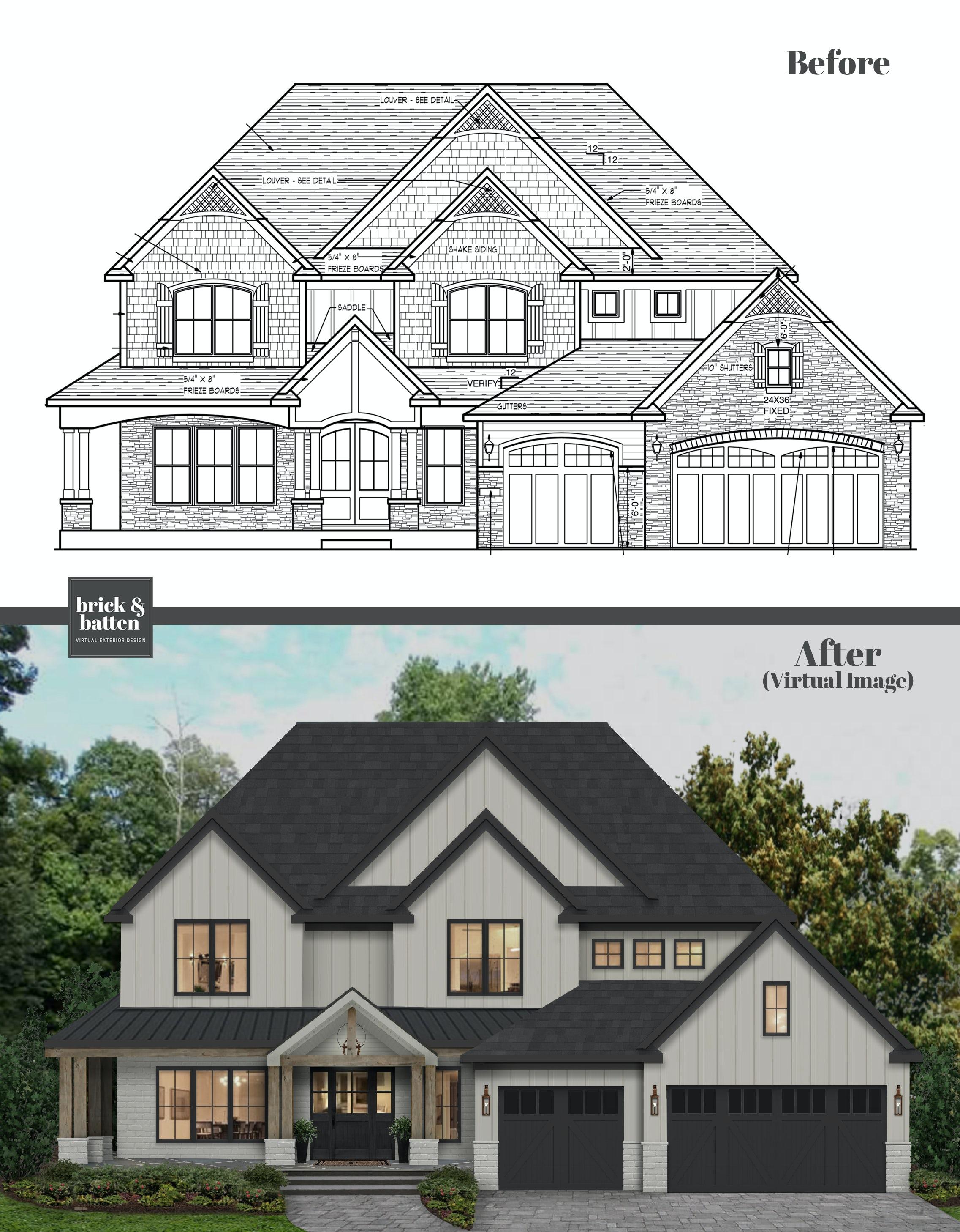 modern two story home blue print visualization