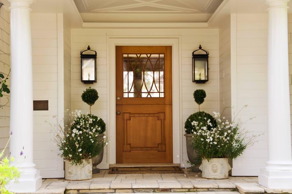 dutch door, wood, interesting glass