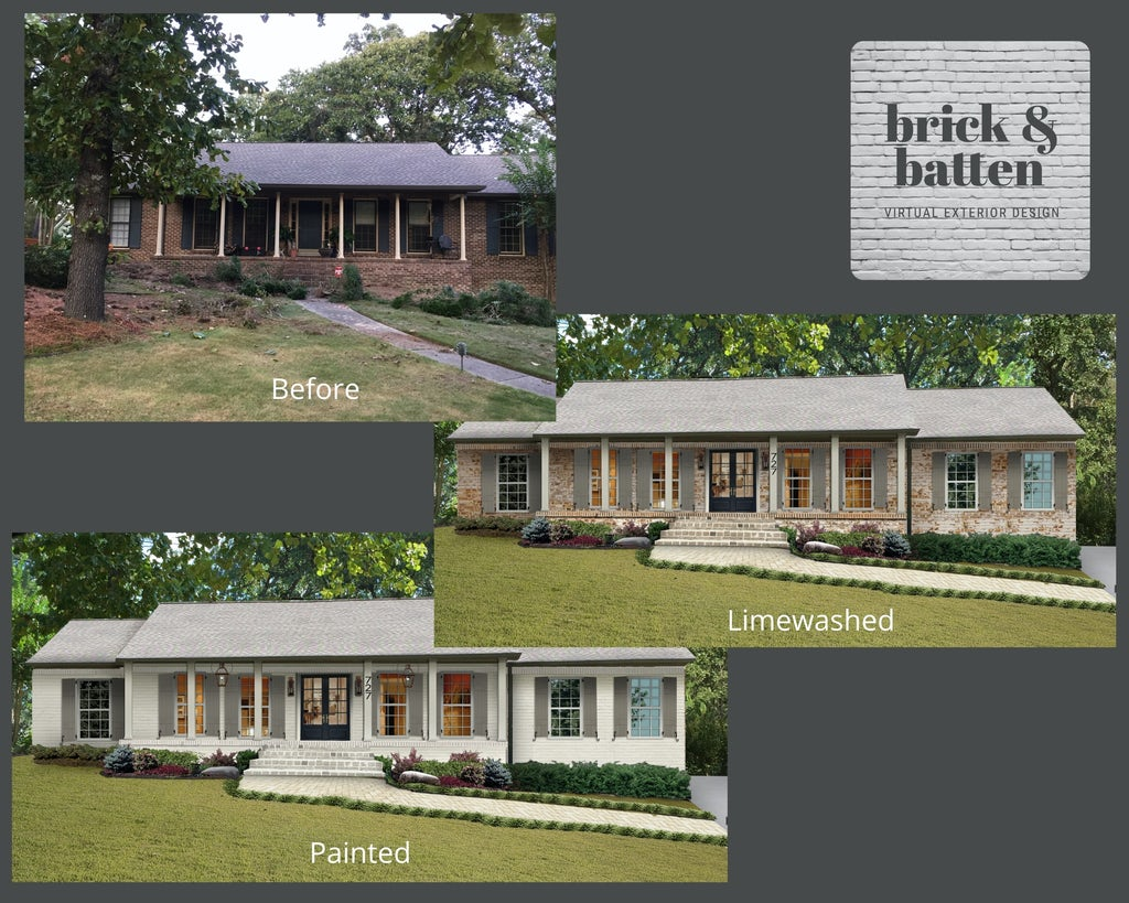 before and after picture of brick ranch with limewash and paint options