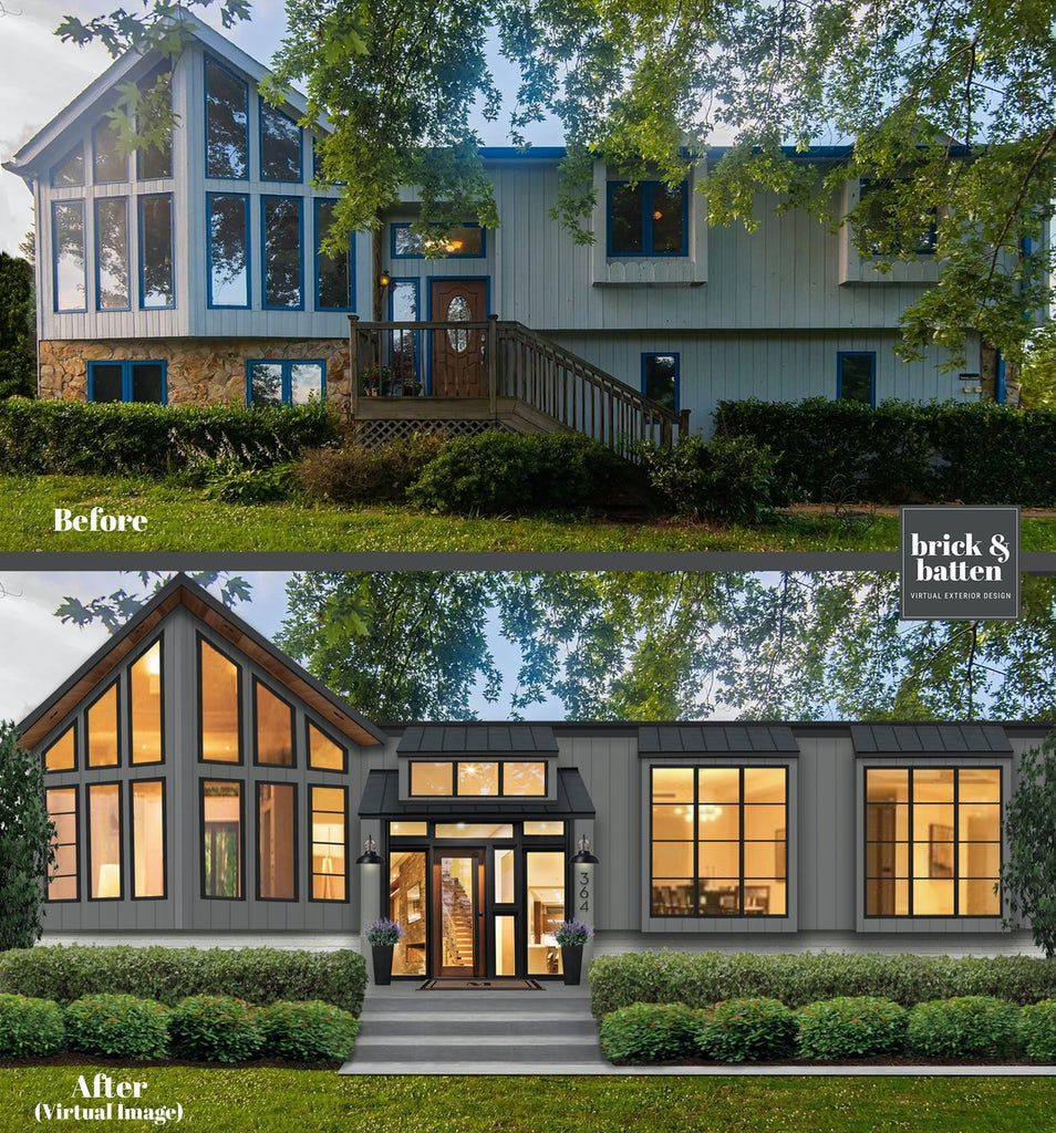 Before and after of a contemporary home with new windows and gray paint