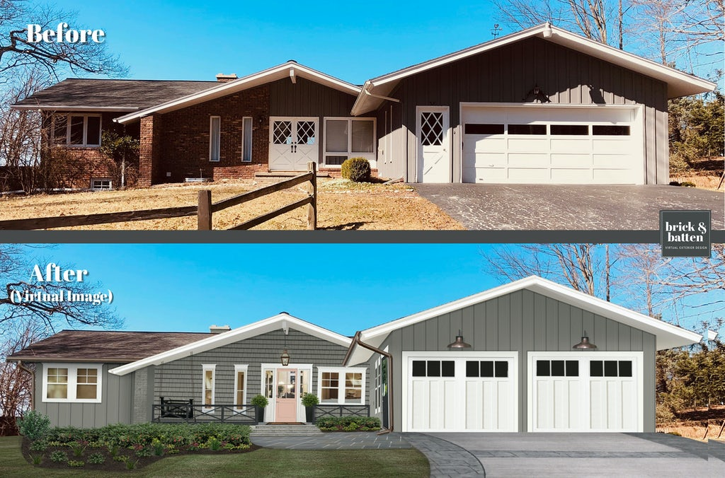 Before and after of a home with new siding, windows, and a new pink door