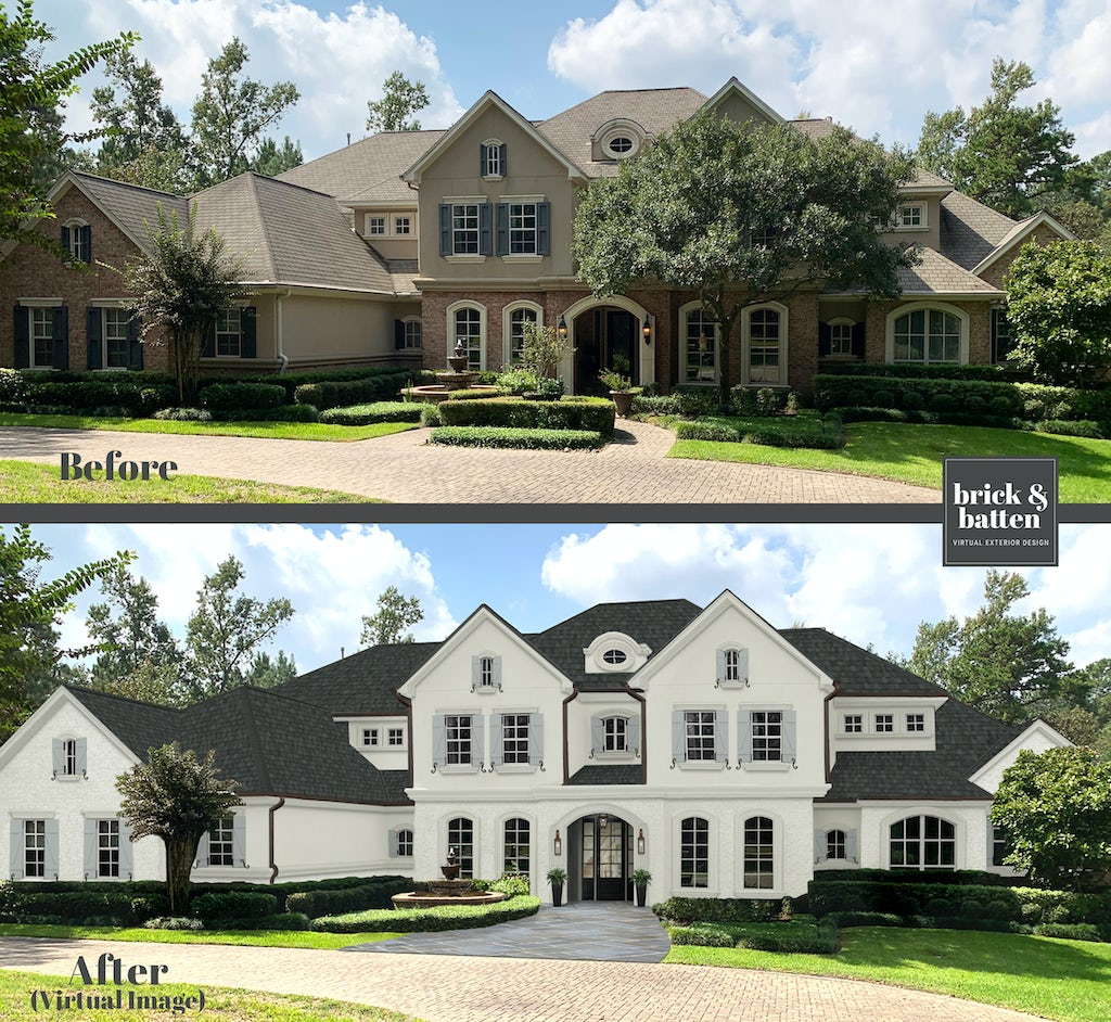 Before and after of a traditional two-story home. The after is painted in SeaPearl with dusty blue shutters.