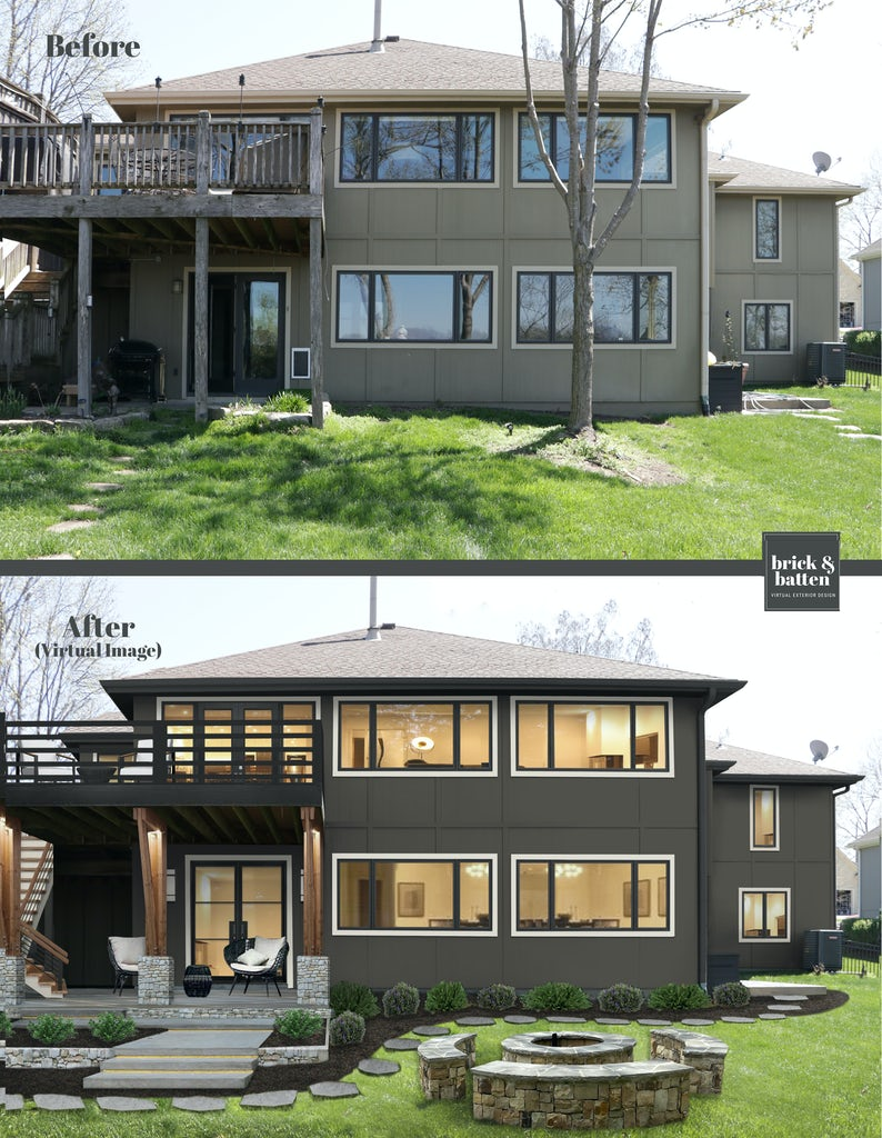 Sherwin Williams Urbane Bronze on home siding in the after photo