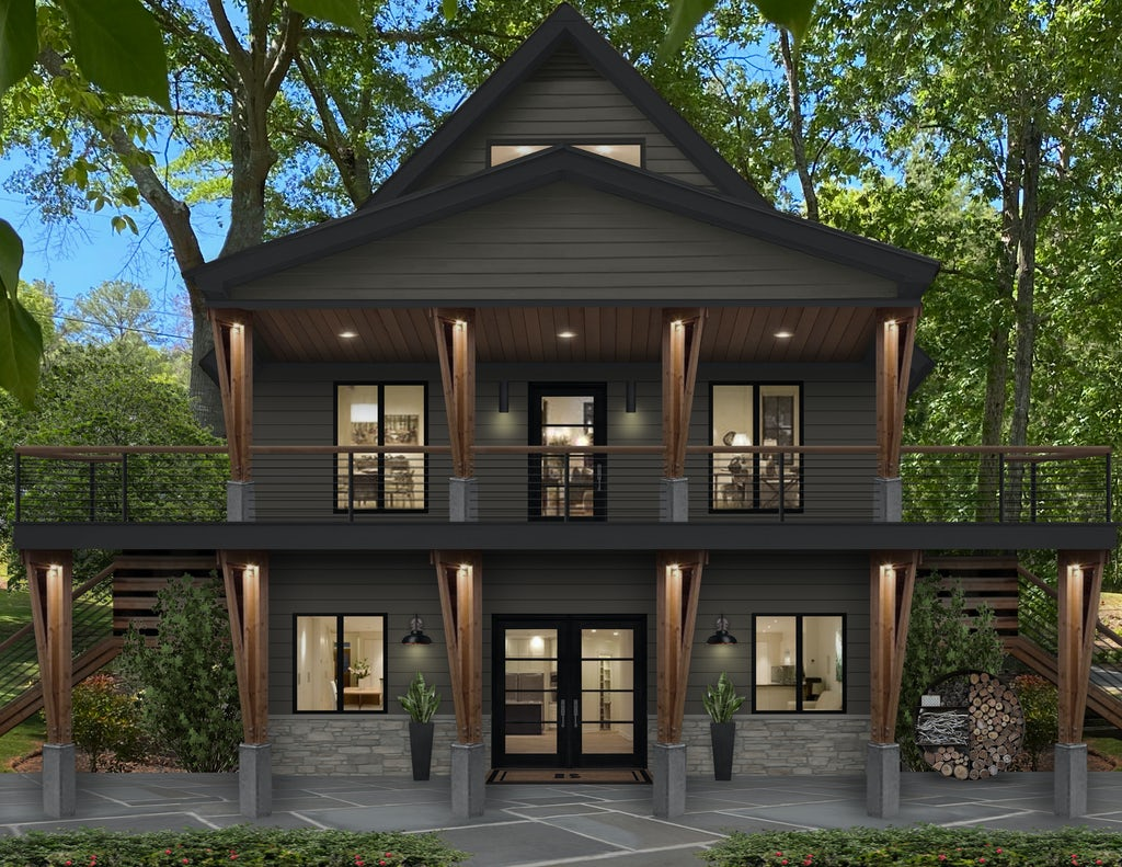 Virtual rendering of a home with a two-story deck and patio