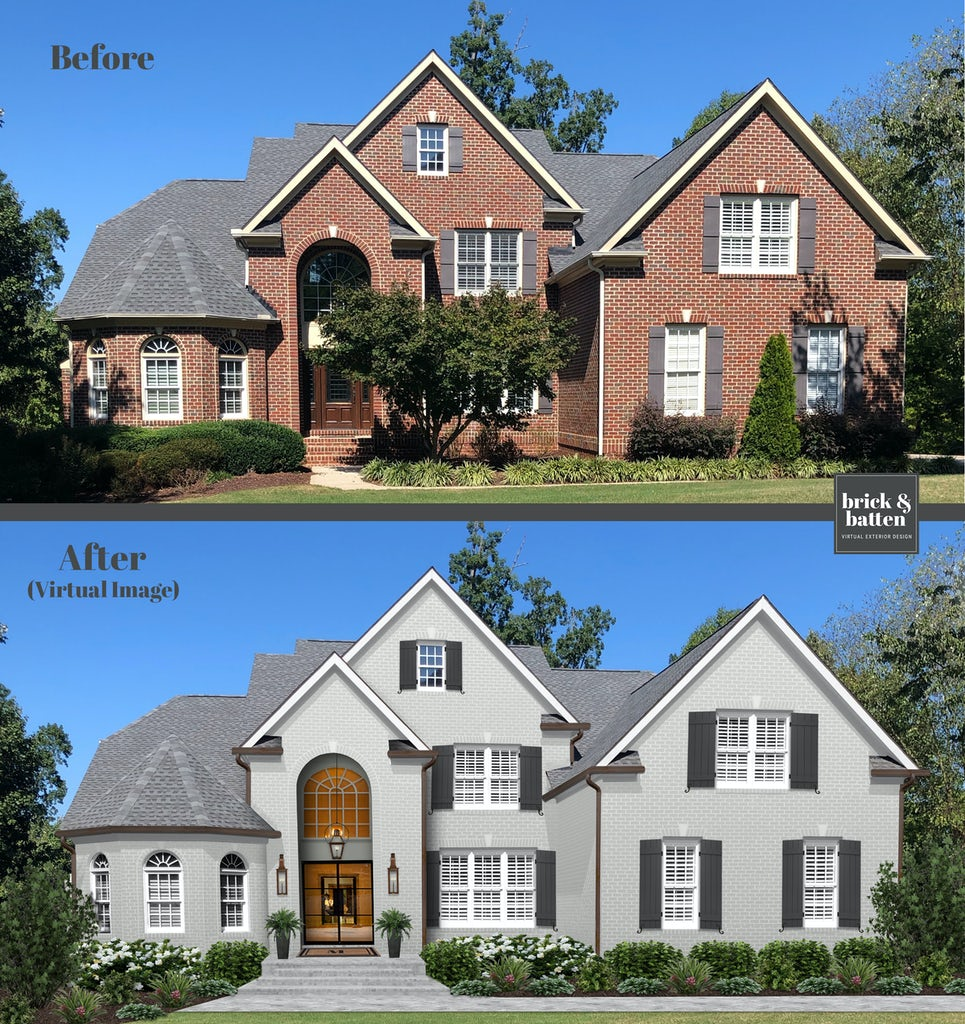 Before and after of a traditional brick home. The after shows the brick painted in Repose Gray with Simply White trim and Onyx shutters