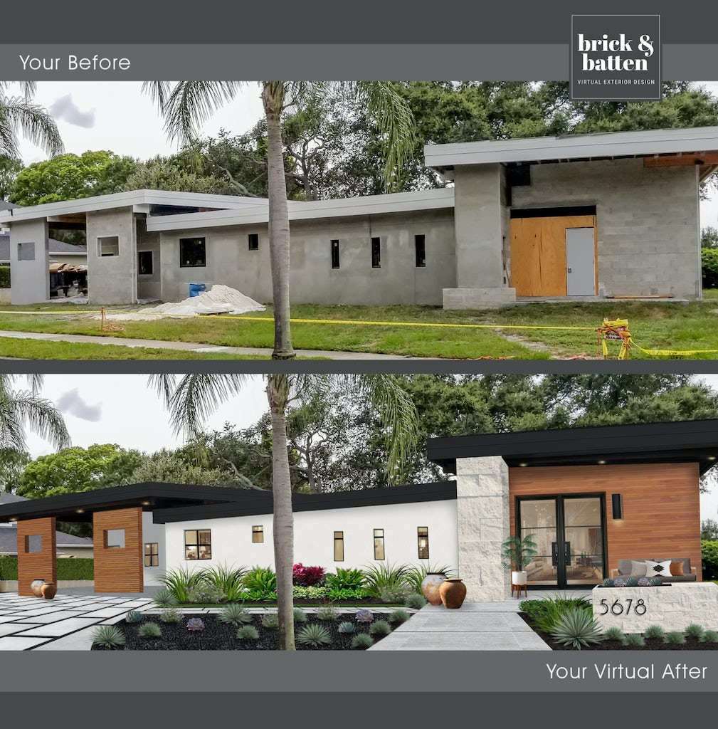 Before and after of an under construction contemporary home finished in a two-tone black-and-white color palette with wood and stone accents