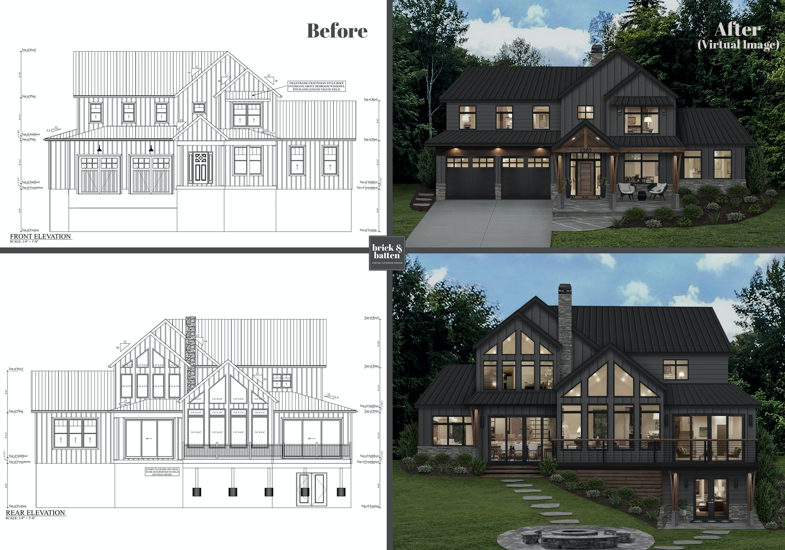home exterior blueprint to virtual rendering service