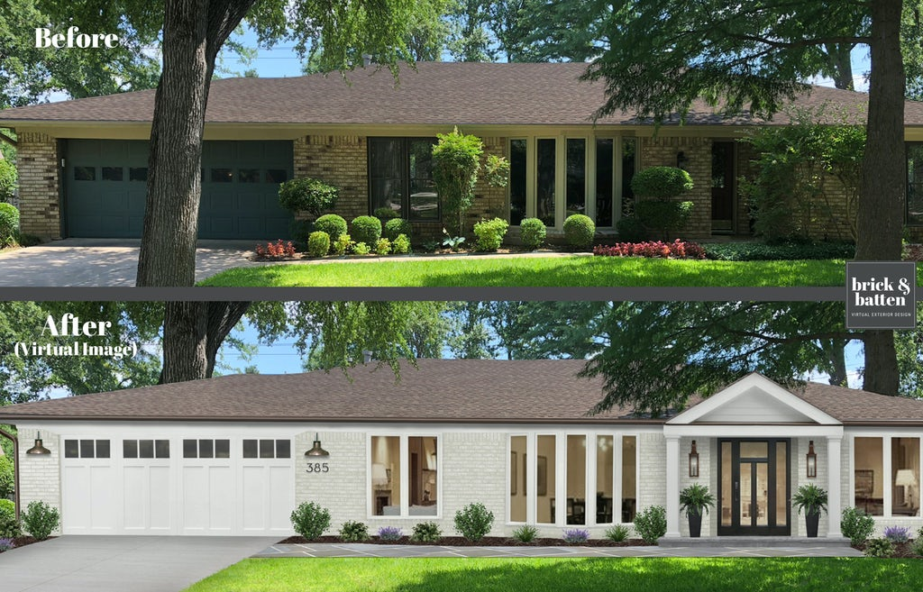 Before and after of a brick ranch home. The after photo features white-painted brick, a new garage door, and a new front porch and entryway.