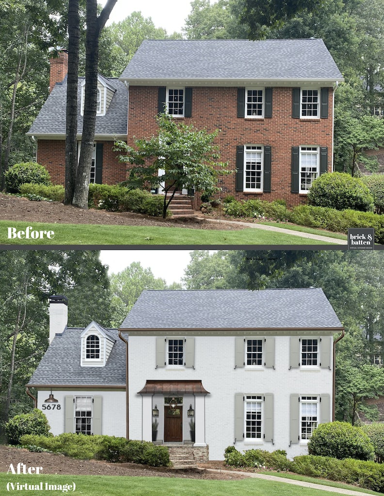 Before and after of a home with painted brick