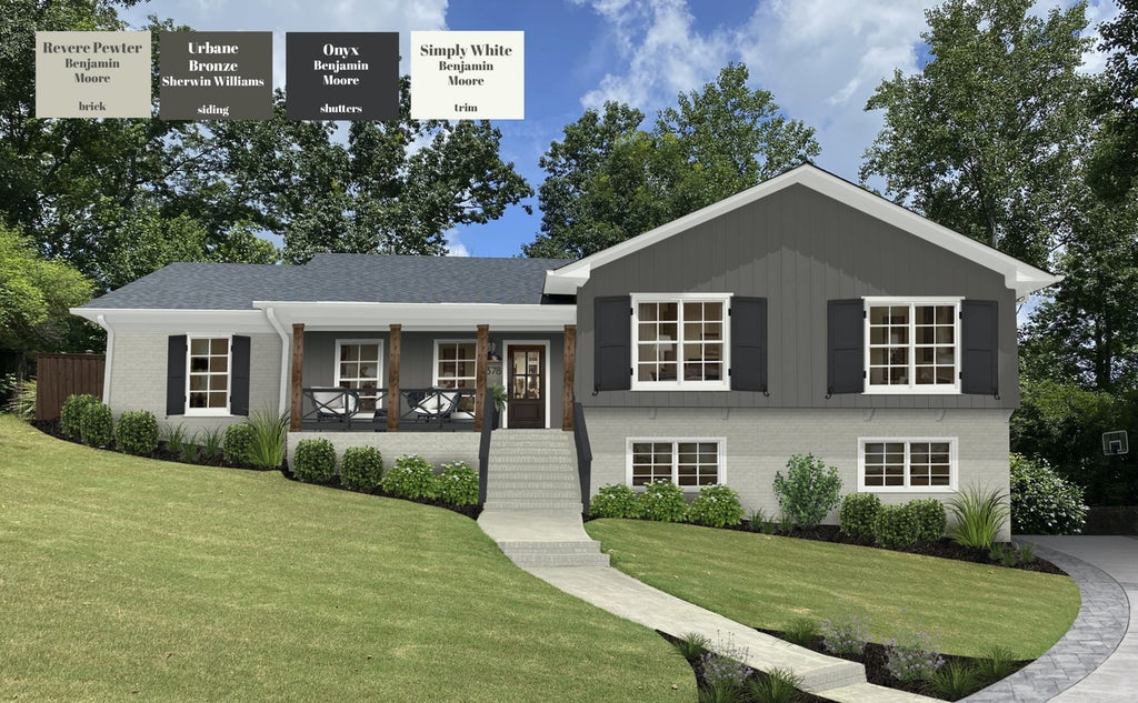A two story home with updated paint colors: Revere Pewter brick, Urbane Bronze siding, Onyx shutters, and Simply White trim