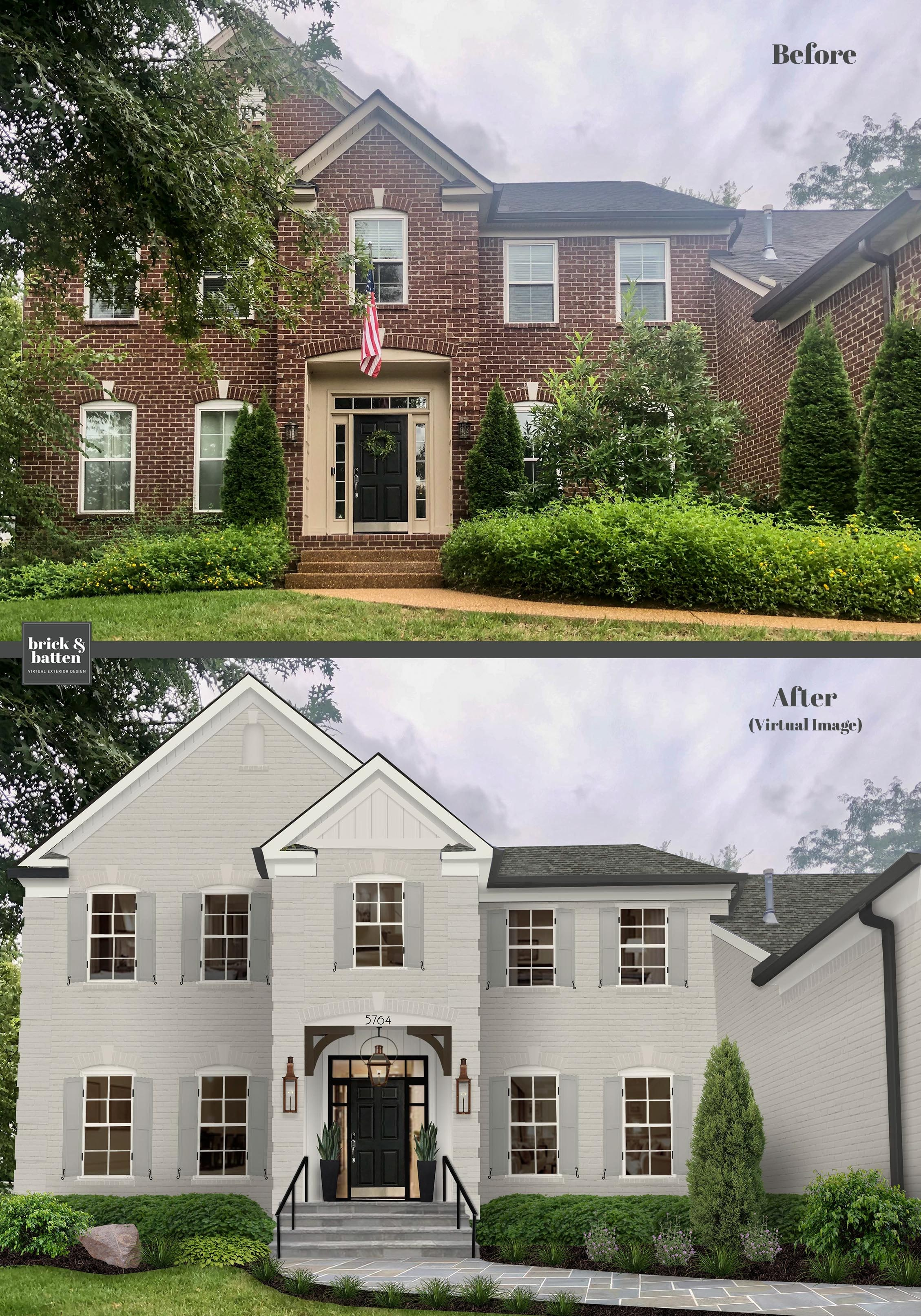 Before and after of simplified landscaping
