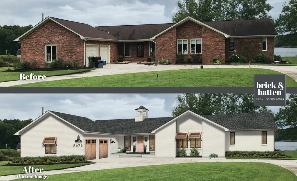 Before and after of a brick home with white-painted brick, a new colorful door painted in Antique Coral, new garage doors, new windows, and stylish Bahama shutters