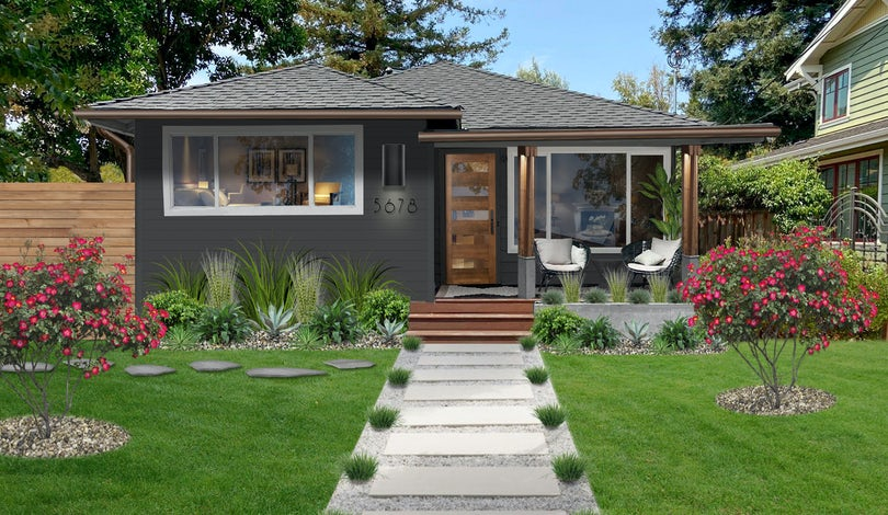 Home exterior with symmetrical plants