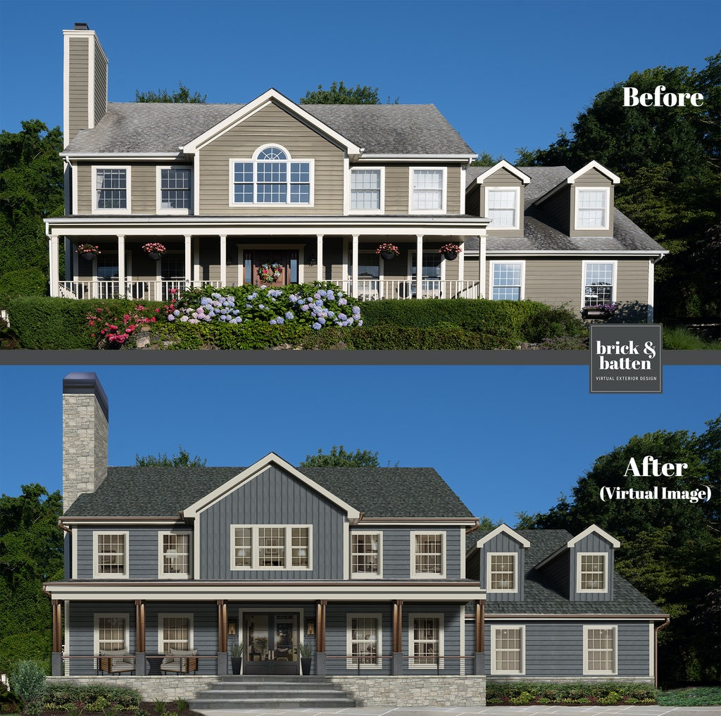 Before and after of a farmhouse style home featuring new slate blue siding in Esquitin Titanium by James Hardie.