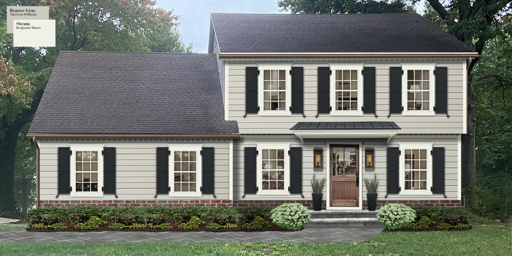 Virtual exterior of design of a traditional two-story home painted in Repose Gray with trim in Steam and black shutters