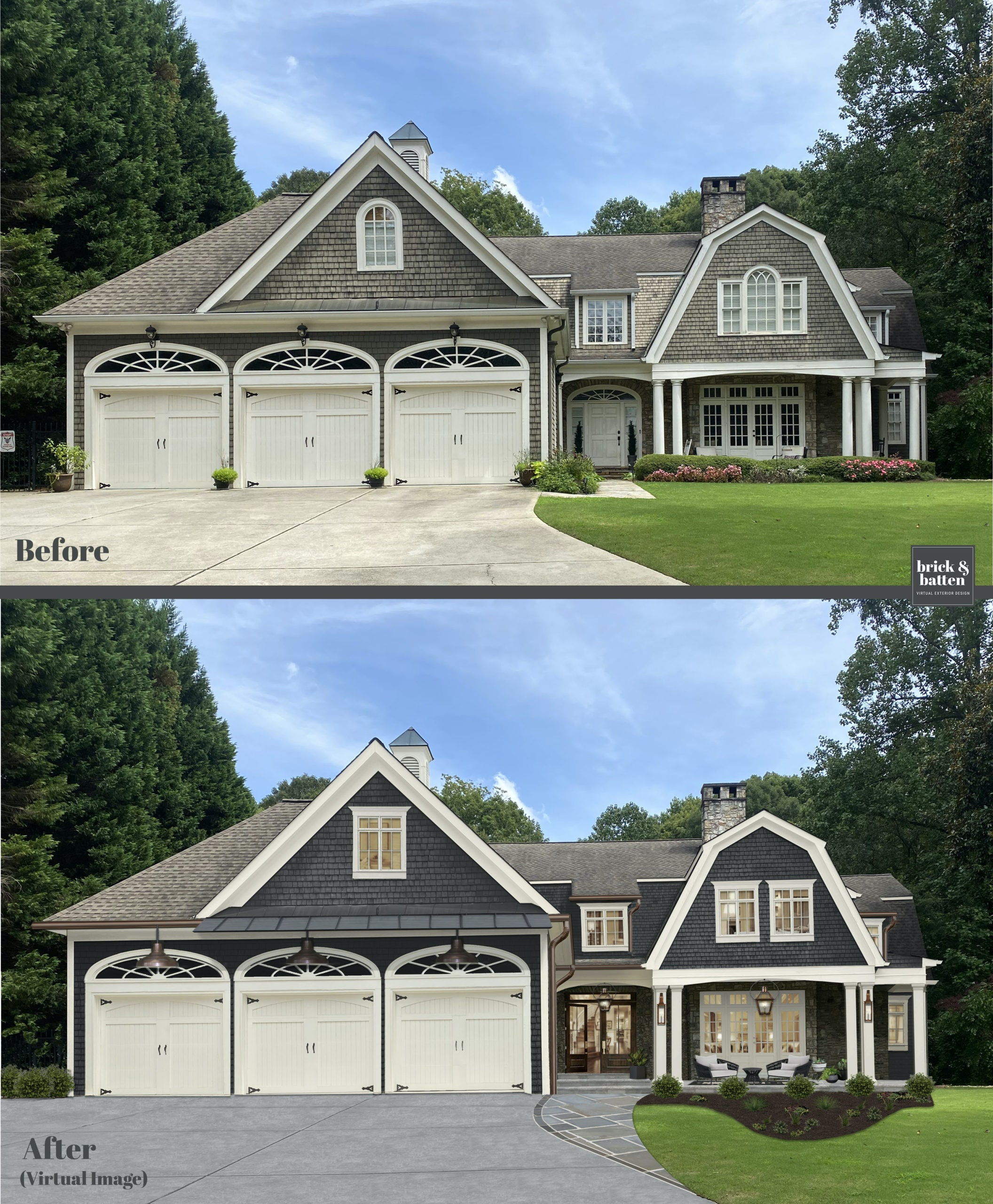 Before and after of a home with darker paint